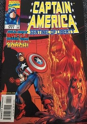 Marvel Comic Captain America Sentinel Of Liberty July 1999 Free Postage!