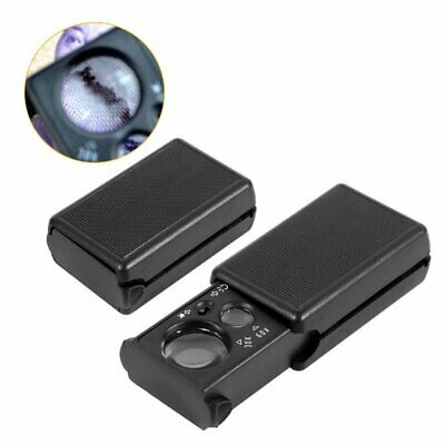 30X 60X Led Light Jeweller Magnifying Optical Glass Magnifier Loupe Antique