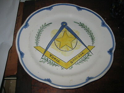 French Faience Rouen Style Plate  20Th Century Force Sagesse