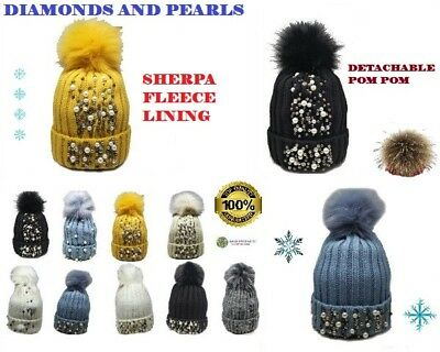 Womens Winter Fleece Lined Beanie Hats With Pearls & Diamonds Detachable Pom Pom
