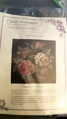 Classic needlepoint full kit new Victorian Flower series 83 Camellias tapestry