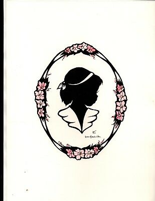 Four Paper Cut Silhouettes of Children;Very Sweet;Hand-tinted flowers; Excellent