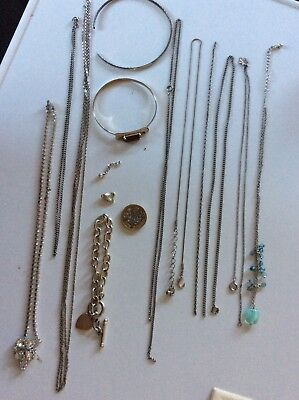Jewellery Collection of Silver style Chains/Bangles etc (some broken)