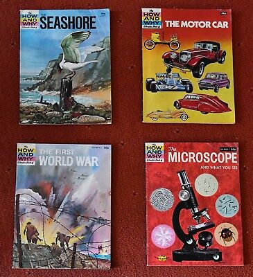 How and Why books. Seashore, World War, Microscope, Cars. Published 1970's