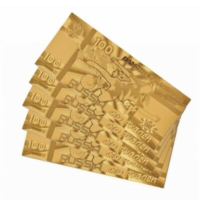10Pcs 2018 World Cup Russia 100 Ruble Gold Foil Banknote Paper Money Collection