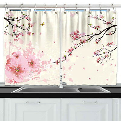 Flower Cherry Blossoms Window Drapes Kitchen Curtains 2 Panels 55*39 Inches New