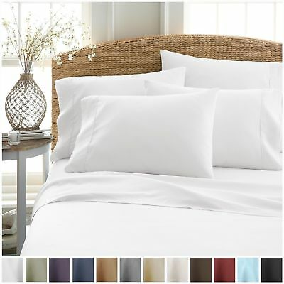 Single/Double/Queen/King/Size Bed Sheets Set 3/4 Pieces 1000TC Flat and Fitted