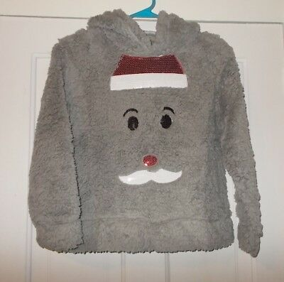 Miss Chievous Brand Thick Gray Plush Hooded Pullover Shirt Girls Size XL 12
