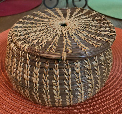 Vintage Southern Pine Needle Basket with Lid Likely 1950's Florida