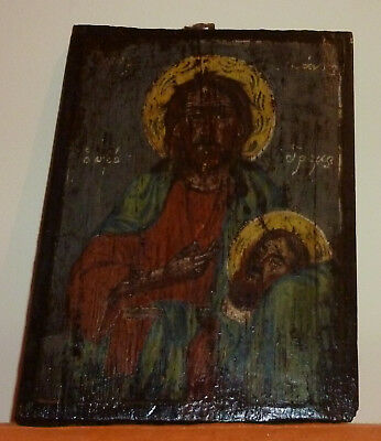 Antique Greek Orthodox Icon of St. John the Baptist.