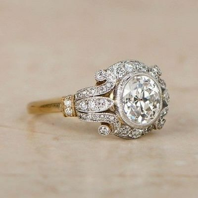 Vintage 1.25ct Moissanite Circa Antique Art Deco Ring 10kt Real Two Tone Gold