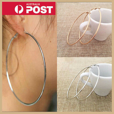Fashion Gold Elegant Silver Women's Big Large Round Hoop Sleeper Dangle Earrings