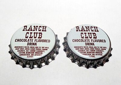 Lot of (2) Vintage Unused RANCH CLUB Soda Cork Lined Bottle Caps