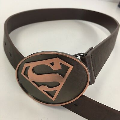 Boys Age 7-10 Years 80cm Superman Belt With Buckle Brown Faux Leather