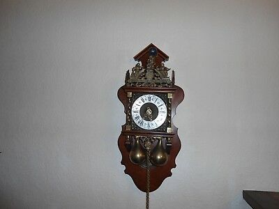 Vintage German Chiming Wall Clock with Heavy Weights & Atlas Holding the World