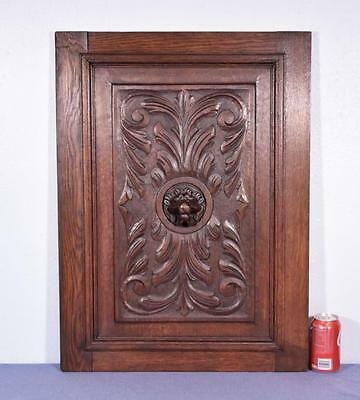 *French Renaissance Revival Antique Carved Panel/Door Oak Wood with Lion