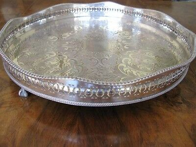 Antique Silver Plated Round Galleried Tray In Good Condition