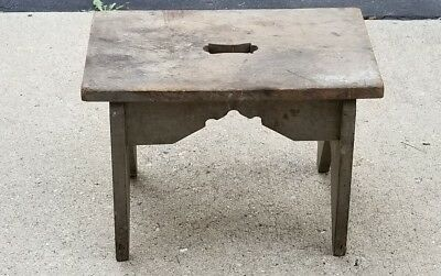 """Vtg. Heavy Hand Crafted Wooden Foot Stool Braced and Sturdy (17x12.5x9.5"""")"""