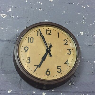 Gorgeous Vintage Bakelite Smiths Sectric Large Industrial Wall Clock, Working