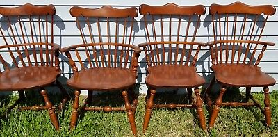 SET Of (6) Vintage S BENT BROTHERS BROS COLONIAL WINDSOR CHAIRS 2 Arm 4