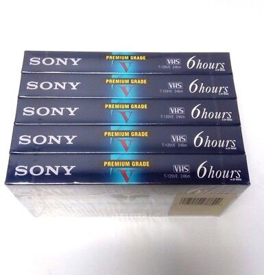 Pack of 5 SONY Premium Grade VHS T-120VE 6 Hours in EP Mode New & Sealed
