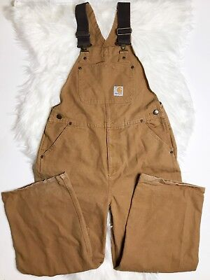 Carhartt Youth Kids Bib Overalls Size 10 Double Knee Gold Tan Brown Thick Heavy