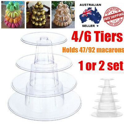 4/6Tier Macaron Cake Tower Display Round Clear Stand Rack Birthday Wedding Party