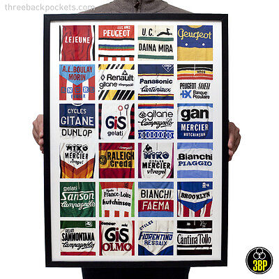 Vintage Cycling Jersey Details Print Poster Wall Art Sports Retro Bicycle Velo