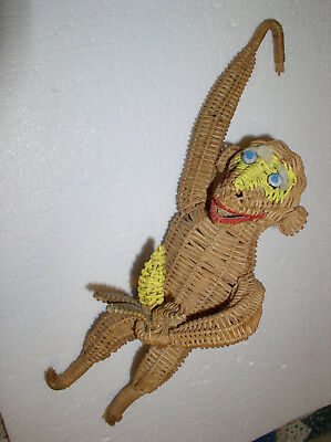 Vtg Wicker Rattan Monkey w Banana Painted Face Button Eyes Mid Century Red Lips