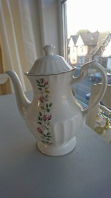 JG Meakin Classic White Coffee /Tea pot with floral design. Vintage
