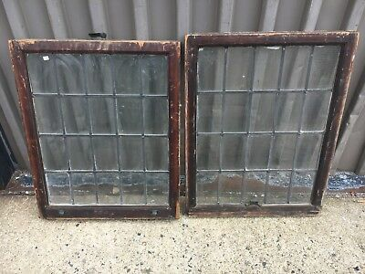 "c1900 leaded glass window set - vintage sash frames 24""w x 30/31"" high x 1 5/8"""