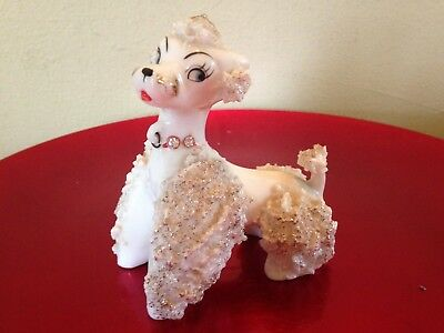 Vintage White Spaghetti Poodle Porcelain Figurine Hand-Painted With Gold Trim