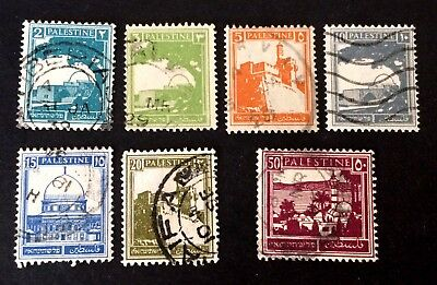 7 nice old used stamps Palestine