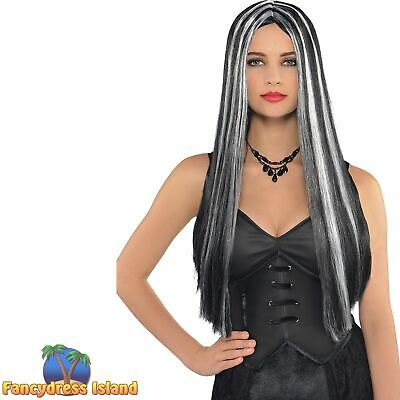 BLACK /& WHITE LONG CURLY WICKED MIST WIG ladies womens fancy dress costume