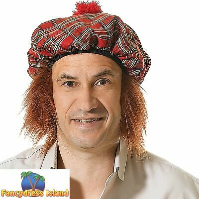 SCOTS TARTAN HAT WITH GINGER HAIR SCOTLAND - mens fancy dress costume accessory