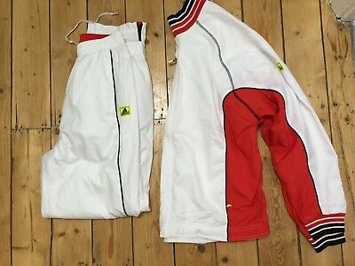 Vintage ADIDAS Women's Tracksuit Jacket + Trousers White & Red  UK14   D 42  VGC