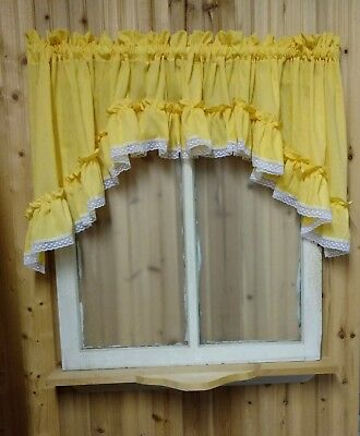"""Yellow Ruffled Swag Valance Curtain  82"""" Wide x 22 Long"""