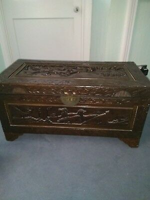 Camphor wood carved chest/linen/toy box