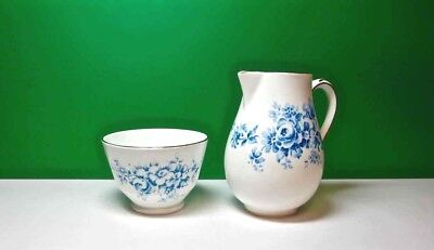 Vintage CROWN STAFFORDSHIRE  Creamer Sugar Bone China BLUE FLORAL England