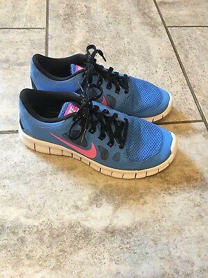 4de468bc431f NIKE FREE 5.0 GS 580565 400 Blue Pink Juniors Size 7Y Running Shoes ...