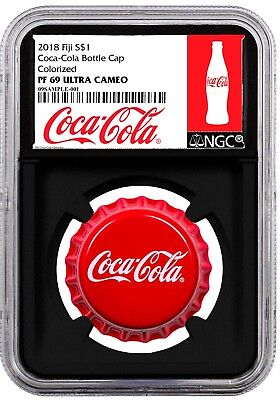 2018 Fiji Coca Cola Bottle Cap Shaped $1 Colorized 6 g Silver NGC PF69 BLACK