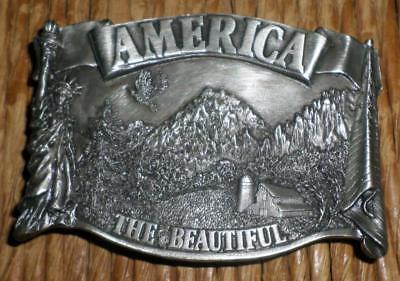 MINT 1983 Bergamot Brass Works Belt Buckle America the Beautiful Flag Farm Scene