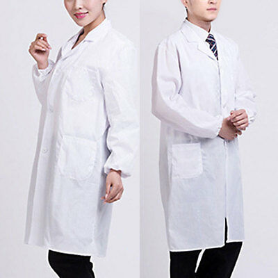 Men/Women White Lab Coat Hygiene Food Industry Doctors Laboratory Medical Coat