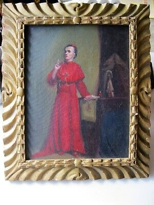 Original Antique Oil Painting On Board Framed , Religious Theme ,image Of Cleric