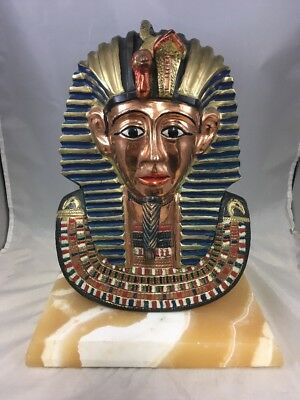 "Vintage Egyptian Pharoah King Tut Bust Figurine 12"" Cast Metal Statue Decorative"