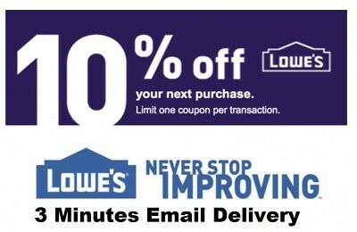 Three 3x Lowes 10% OFF3Coupons-InStore and Online--Fastest Delivery-EXP 9/30/18