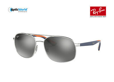 6312d07678c11 RAY BAN RB3593-910188-58 Aviator Sunglasses Silver Blue Orange Frame ...