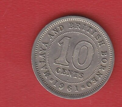Malaya And British Borneo 10 Cents 1961