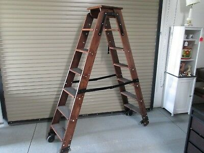 """Vintage Folding Library Ladder, Steps, Stairs, Double Sided, Wood, Locking, 68"""""""
