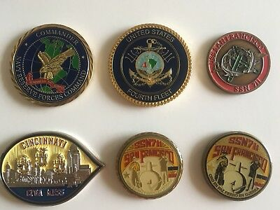 USN Navy Challenge Coin Coins Lot (6) Admiral SSN Submarine.